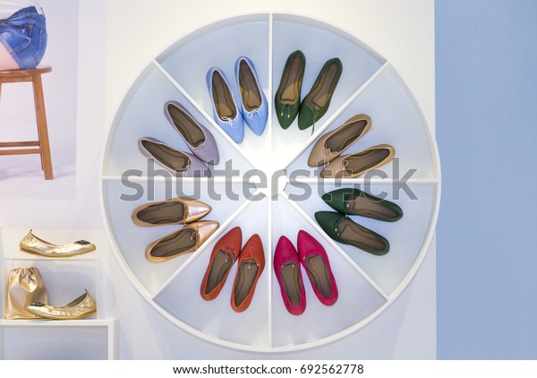 variety of the female leather shoes in the shop