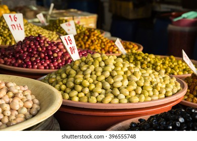 variety of flavored and seasoned olives in the olive market of Casablanca, Morocco