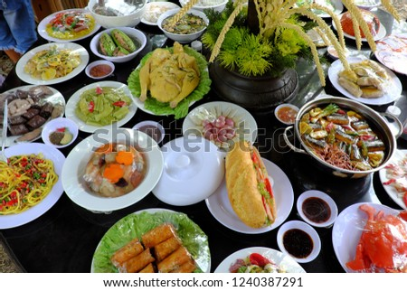 Variety Food On Party Table Group Stock Photo (Edit Now) 1240387291 ...