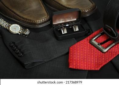 variety of formal men's clothing closeup