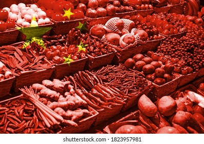 Variety of fresh fruits and vegetables against national flag of China