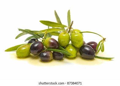 variety of fresh olives with olive oil