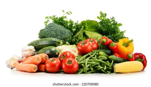 Variety of fresh organic vegetables isolated on white background
