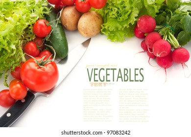 Variety of fresh vegetables.  Vegetables background isolated on white with copyspace and kitchen knife