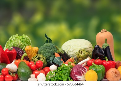 Variety of fresh vegetables on green background