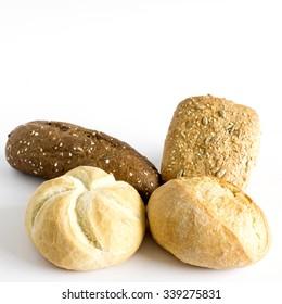 Variety of freshly baked buns for the sundaymorning isolated on white background