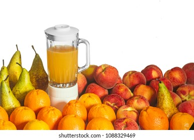 variety of fruit, oranges, pears and peaches, juice in a blender