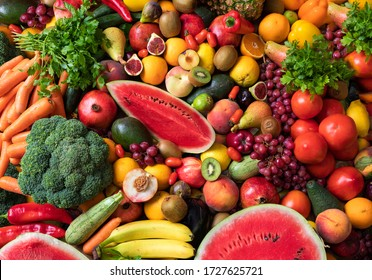 Variety of fruits and vegetables - Shutterstock ID 1727625721