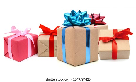 Variety of gift boxes with tied knot ribbons