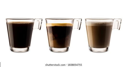 Variety of glass coffee cups on white background