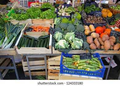Variety of green vegetables at farmers market