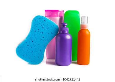 Variety of Hair product Shampoo Hair Conditioner gel mousse isolated on white background