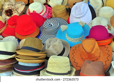 Variety of hats in the market