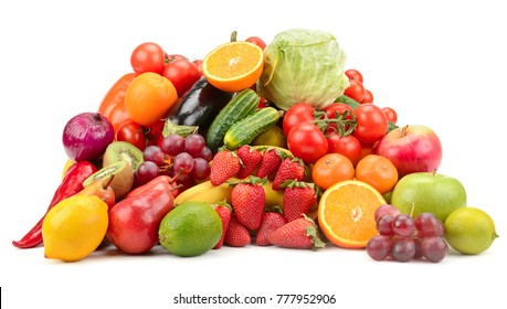 Variety of healthy fresh fruits and vegetables isolated on white background.