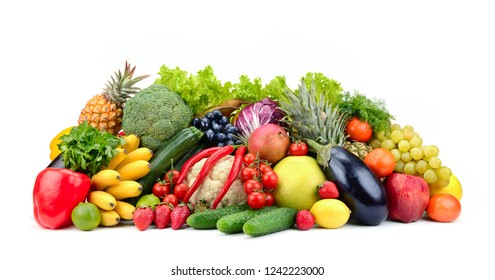 Variety healthy fruits, vegetables, berries isolated on white background.