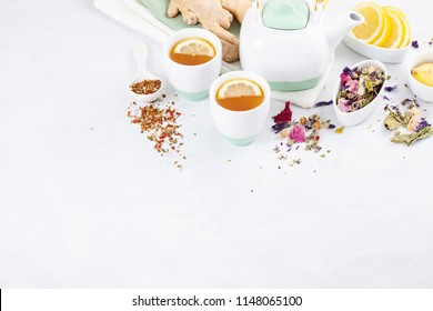 Variety of healthy herbal and fruit tea with lemon and ginger. Antioxidant, detox, refreshing drink