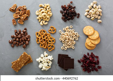 Variety of healthy snacks overhead shot laying on the table - Shutterstock ID 440692762