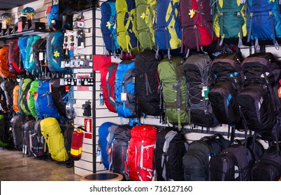 variety of hiking backpacks in sports shop