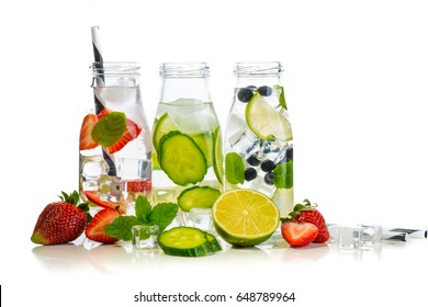 Variety of infused detox water isolated on white, health concept