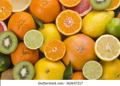 variety of juicy citrus fruits