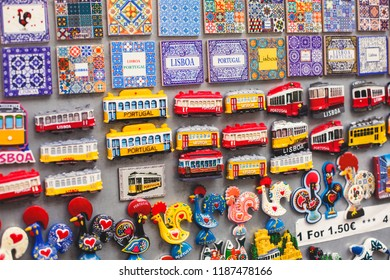 Variety of Lisbon City different Magnet Souvenirs For Sale At Local Vendors in Alfama district, Lisbon, Portugal