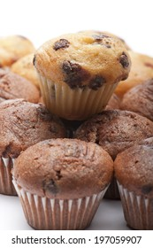 a variety of little muffin on white background