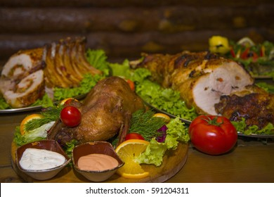 A variety of meat dishes in one of the bars. Food for real men.