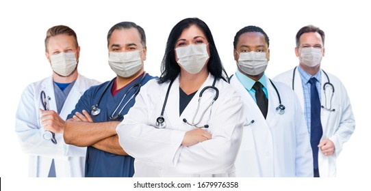 Variety of Medical Healthcare Workers Wearing Medical Face Masks Amidst the Coronavirus Pandemic.