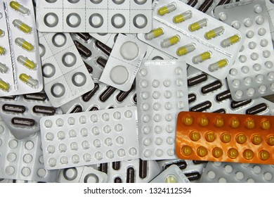 Variety of medicinal tablets in blister pack