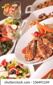 A variety of Mediterranean cuisine close-up