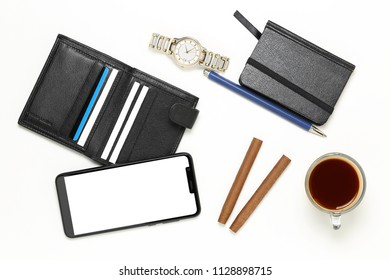 variety of men's objects on white, top view