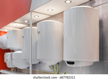 Variety of modern electric boilers presented in store