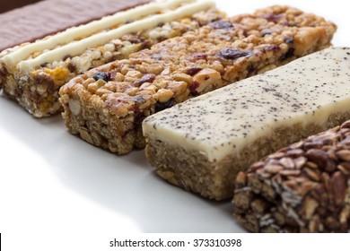 a variety of muesli bars