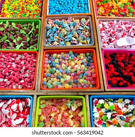 Variety of multi colored jelly candies in a candy shop