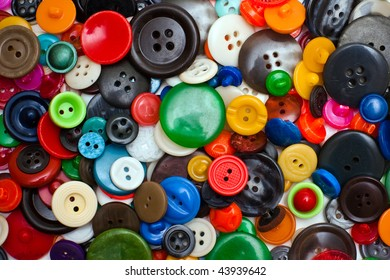 Variety of multi-colored old buttons