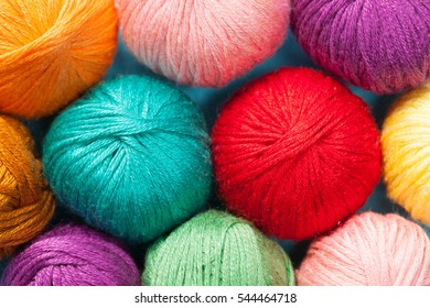 Variety of multicolored wool clews