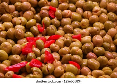 Variety of olives in the Mercado de Atarazanas (Shipyard market ) Malaga, Spain