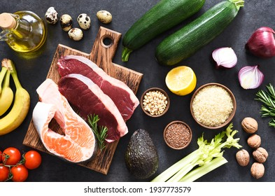 A variety of organic products, meat, fish, vegetables. Balanced diet. The keto diet.
