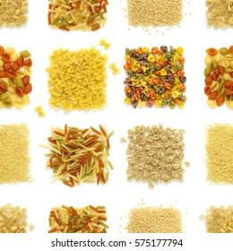 a variety of pasta squares isolated on a white background