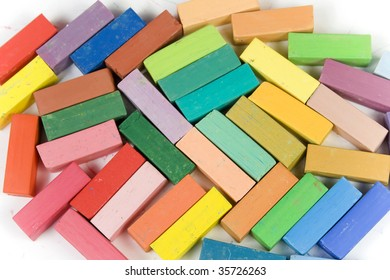 Variety of pastel chalk.  Isolated on a white background.