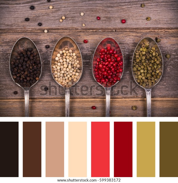 A variety of peppercorns in old silver spoons. In a colour palette with complimentary colour swatches.