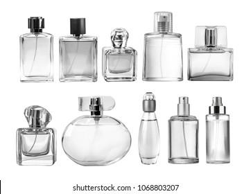 Variety of perfume bottles over white background