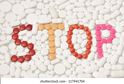 Variety of pills and drugs forming the word STOP in english text as a message against human self-medication