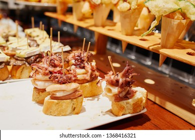 Variety of pinchos (pintxos) in a bar of San Sebastian (Donostia), Spain