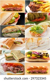 Variety of popular sandwiches in lunchtime food collage imagery
