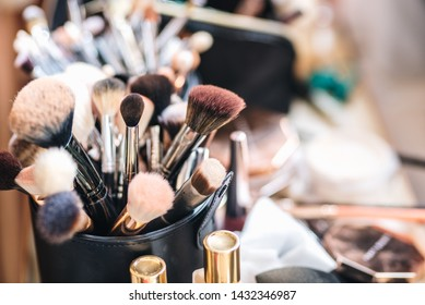 Variety of professional make up brushes