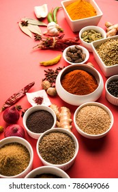 Variety of raw Authentic Indian Spice Powder in white bowl over red background, selective focus