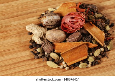 Variety of raw Authentic Indian Spices on wooden background.
