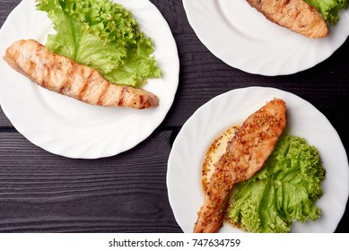 variety of restaurant fish dishes, fried fish, flat lay