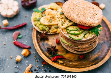 variety of sandwiches with different fillings - Shutterstock ID 737199163